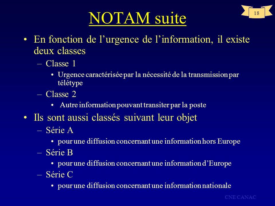 NOTAM suite En fonction de l'urgence de l'information, il existe deux classes. Classe 1.