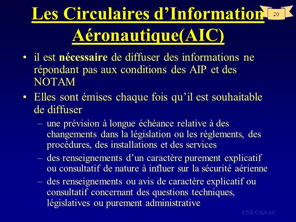 Les Circulaires d'Information Aéronautique(AIC)