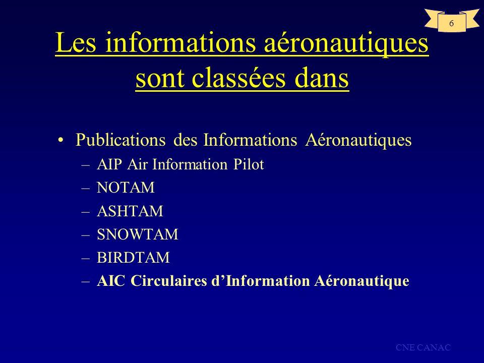 Les informations aéronautiques sont classées dans