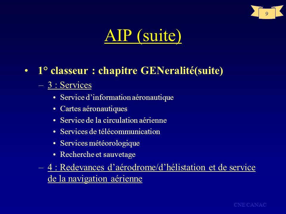 AIP (suite) 1° classeur : chapitre GENeralité(suite) 3 : Services