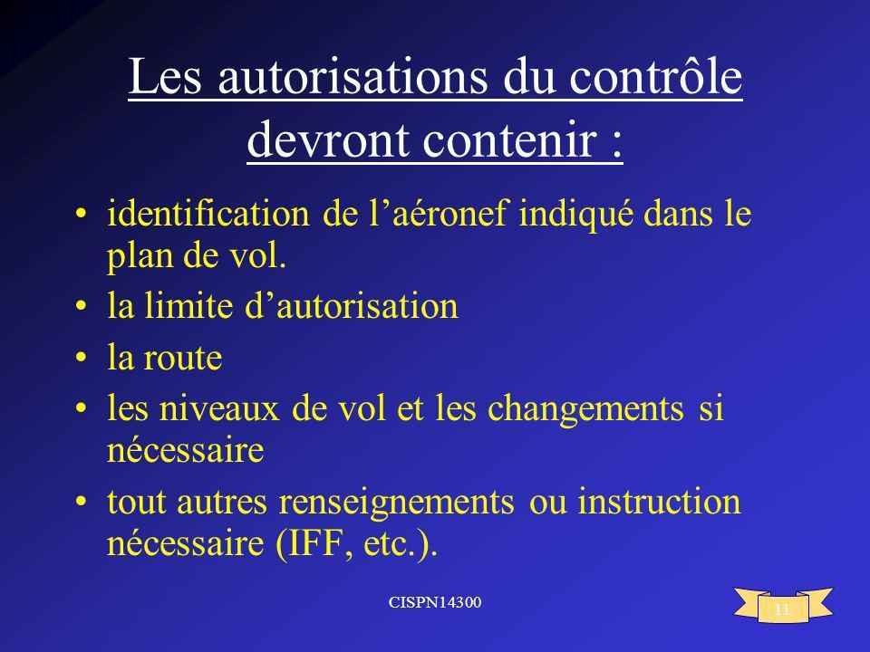 Les autorisations du contrôle devront contenir :