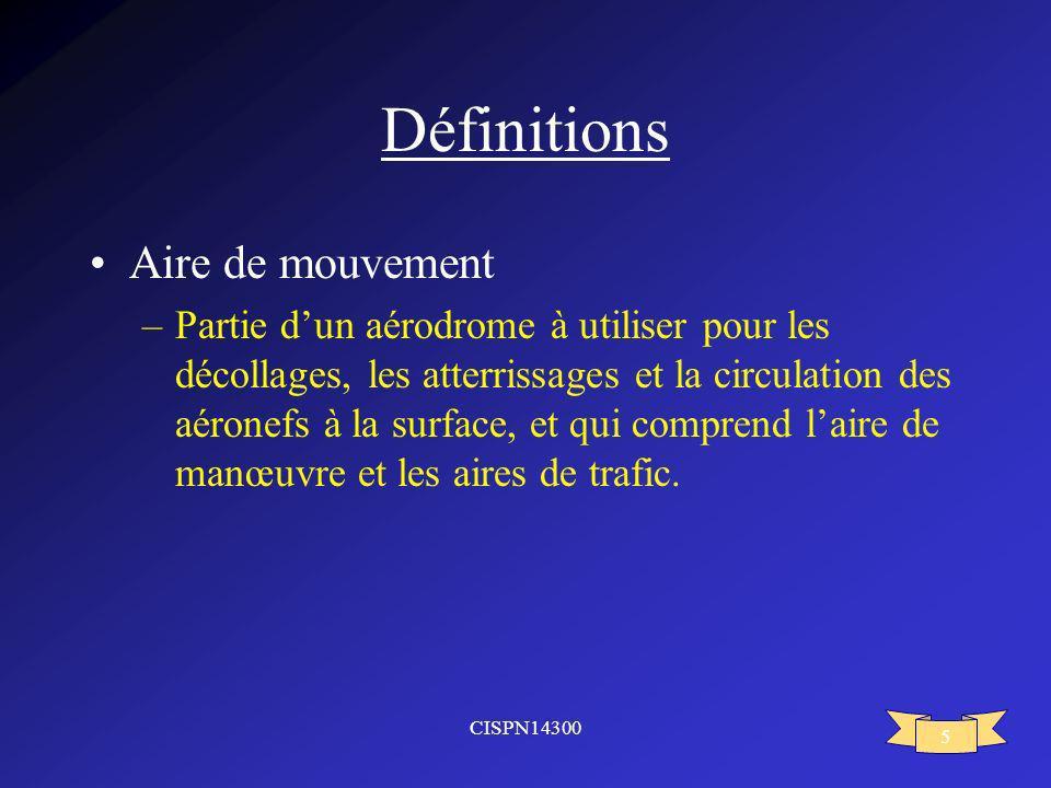 Définitions Aire de mouvement