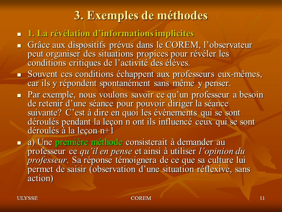 3. Exemples de méthodes 1. La révélation d'informations implicites