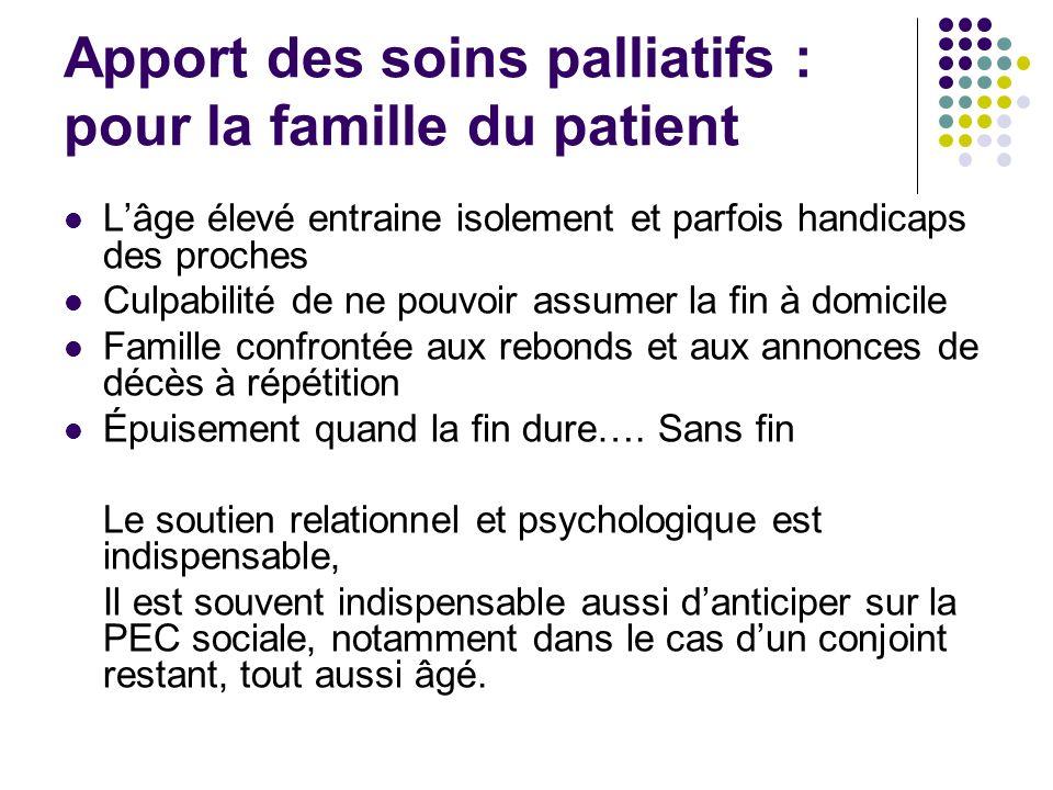 Apport des soins palliatifs : pour la famille du patient