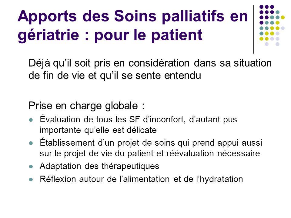 Apports des Soins palliatifs en gériatrie : pour le patient