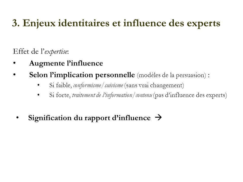 3. Enjeux identitaires et influence des experts