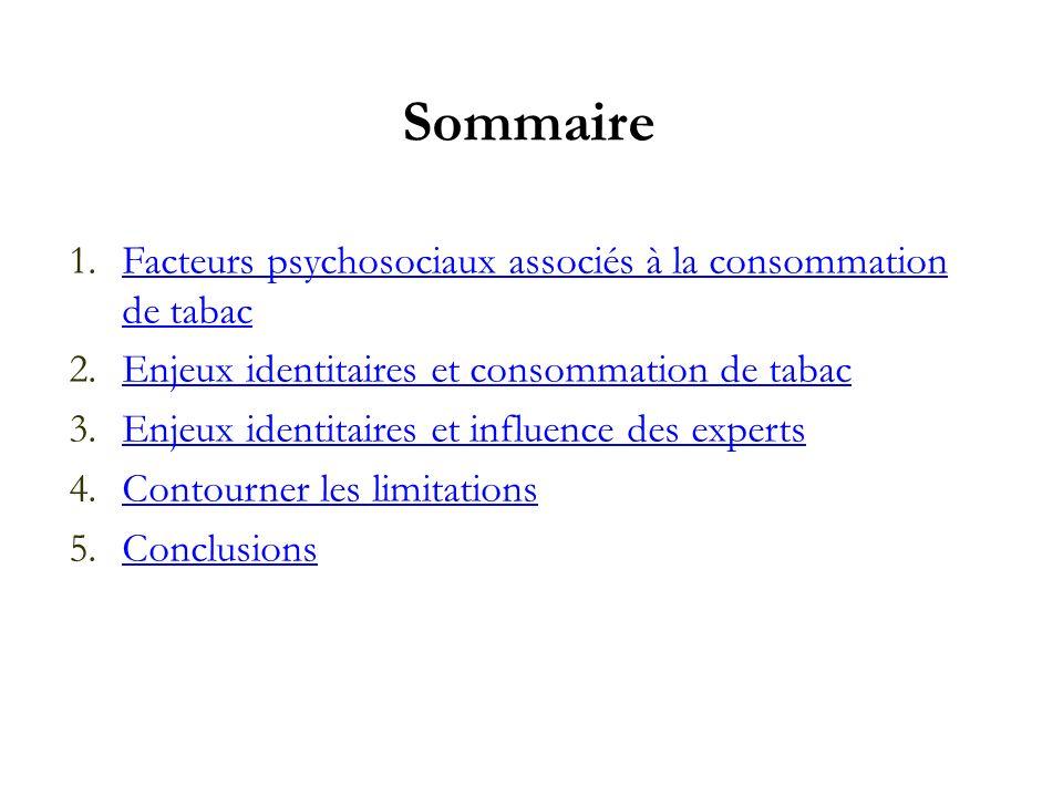 Sommaire Facteurs psychosociaux associés à la consommation de tabac