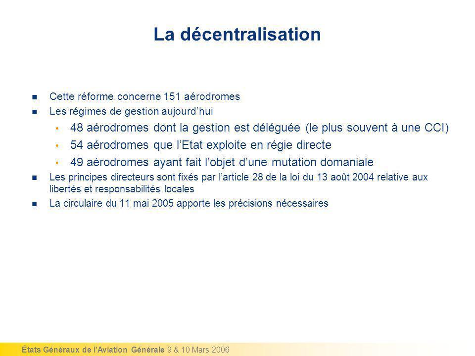La décentralisation Cette réforme concerne 151 aérodromes. Les régimes de gestion aujourd'hui.