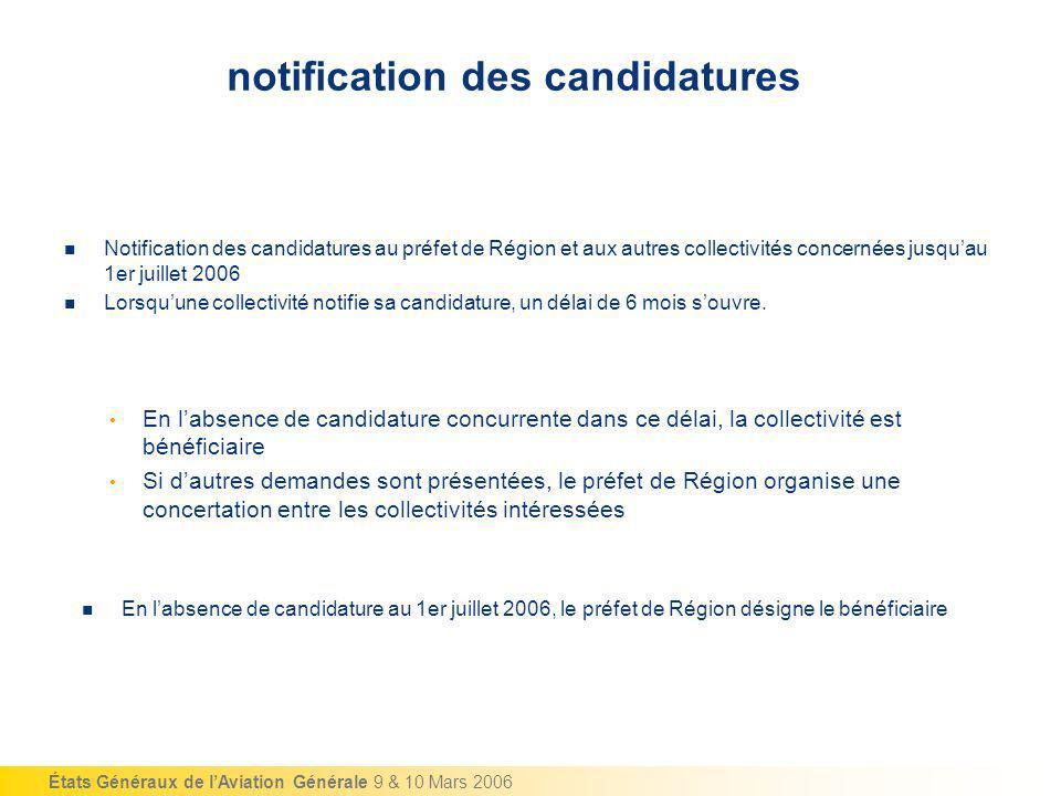 notification des candidatures