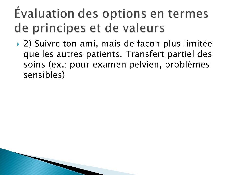 Évaluation des options en termes de principes et de valeurs