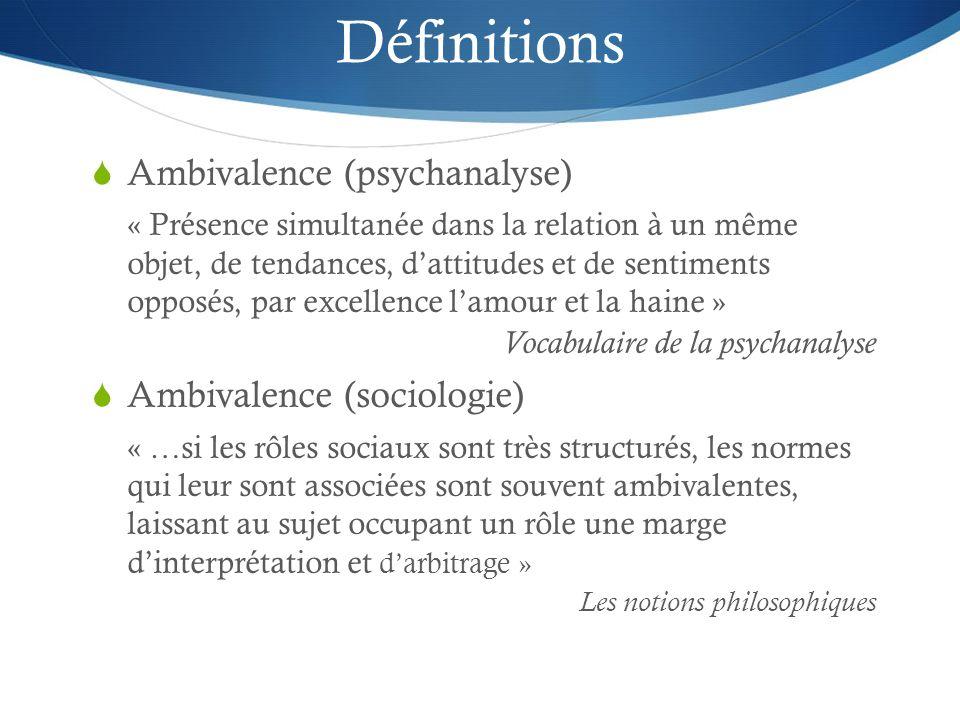 Définitions Ambivalence (psychanalyse) Ambivalence (sociologie)