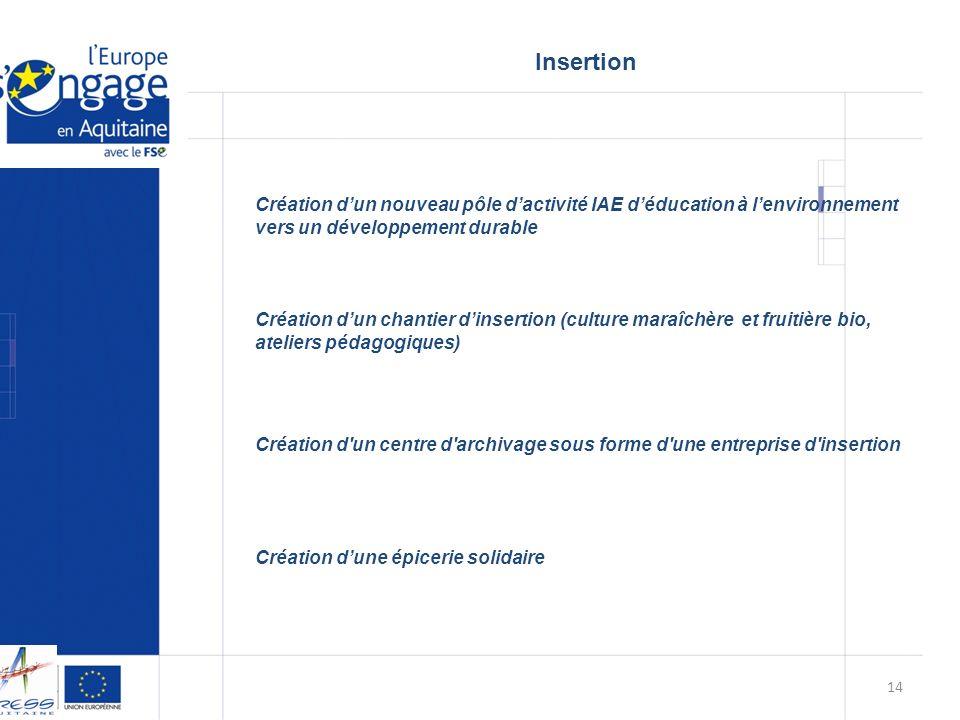 Insertion Création d'un nouveau pôle d'activité IAE d'éducation à l'environnement vers un développement durable.