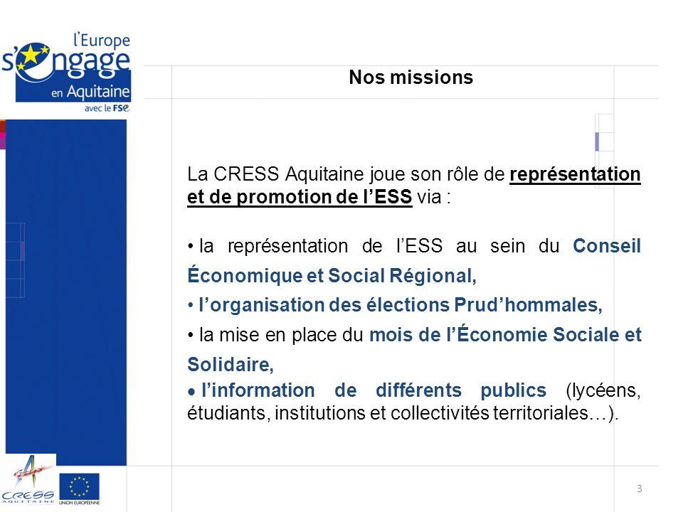 Nos missions La CRESS Aquitaine joue son rôle de représentation et de promotion de l'ESS via :