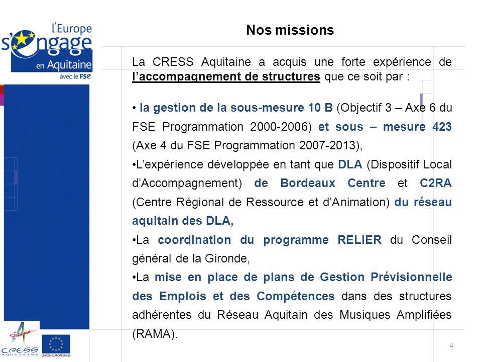 Nos missions La CRESS Aquitaine a acquis une forte expérience de l'accompagnement de structures que ce soit par :