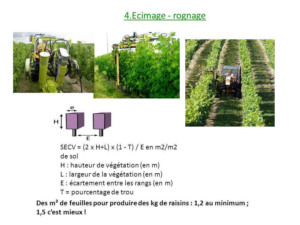 4.Ecimage - rognage SECV = (2 x H+L) x (1 - T) / E en m2/m2 de sol