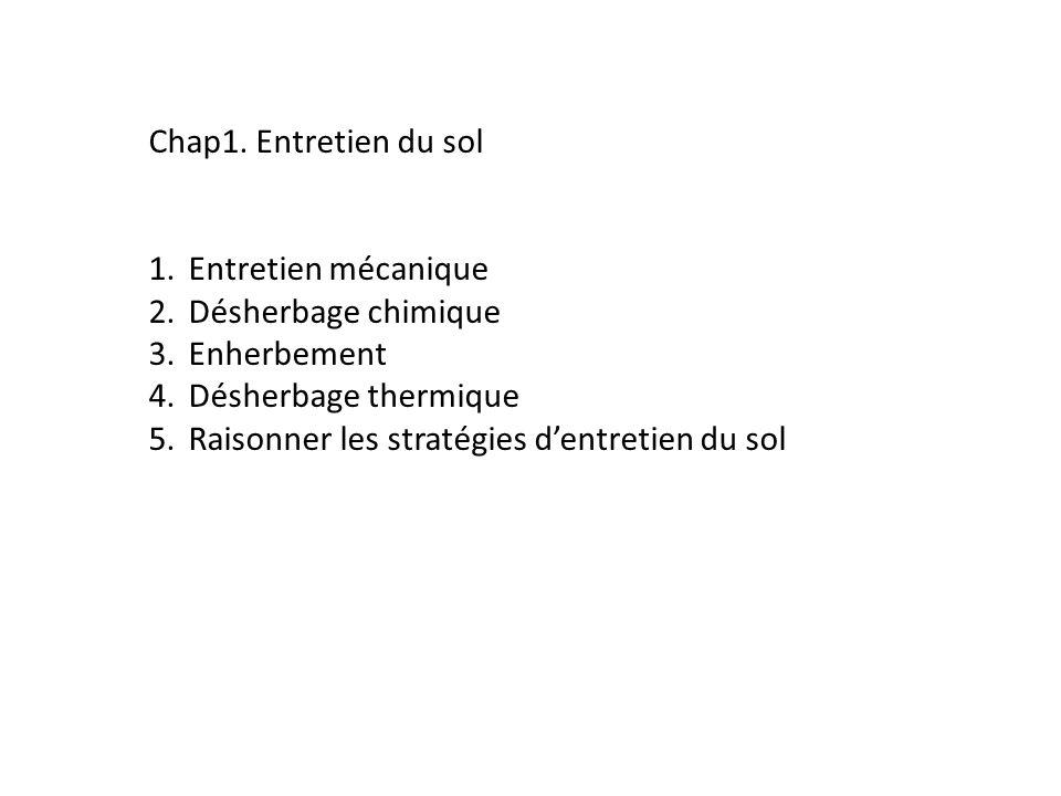 Chap1. Entretien du sol Entretien mécanique. Désherbage chimique. Enherbement. Désherbage thermique.
