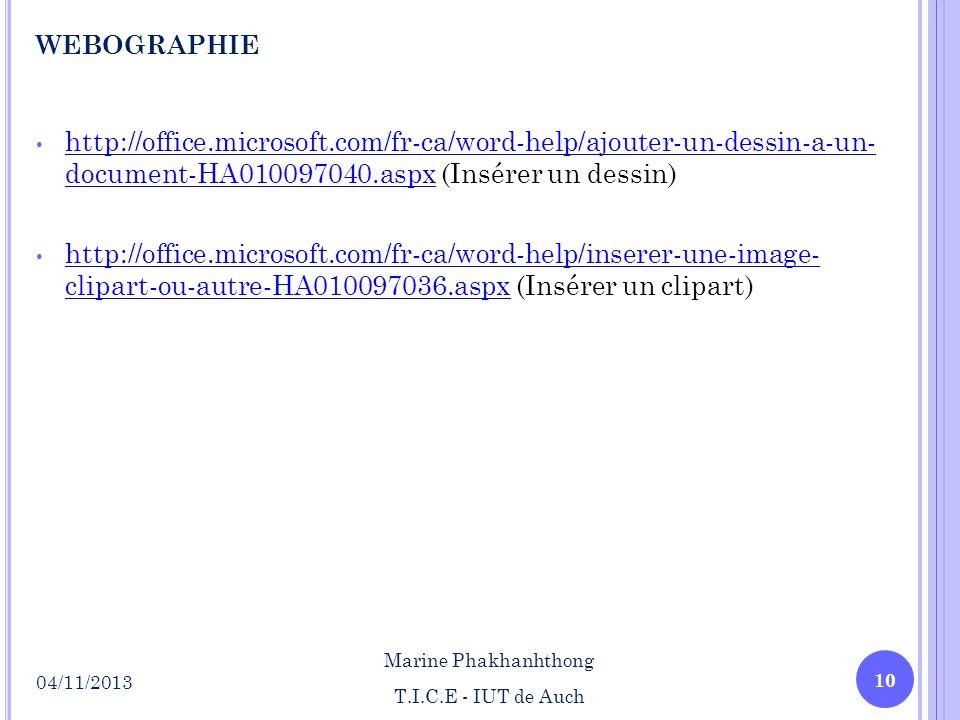 webographie http://office.microsoft.com/fr-ca/word-help/ajouter-un-dessin-a-un- document-HA010097040.aspx (Insérer un dessin)