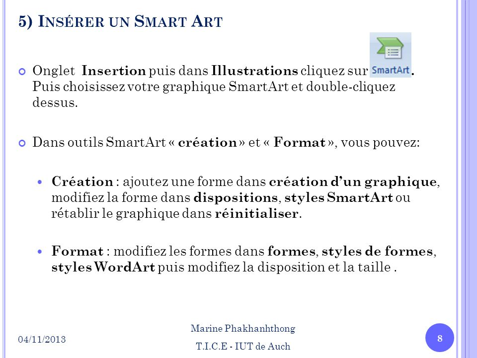 5) Insérer un Smart Art