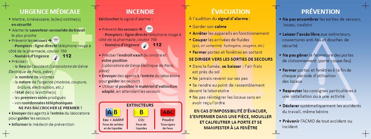 URGENCE MÉDICALE INCENDIE ÉVACUATION PRÉVENTION B