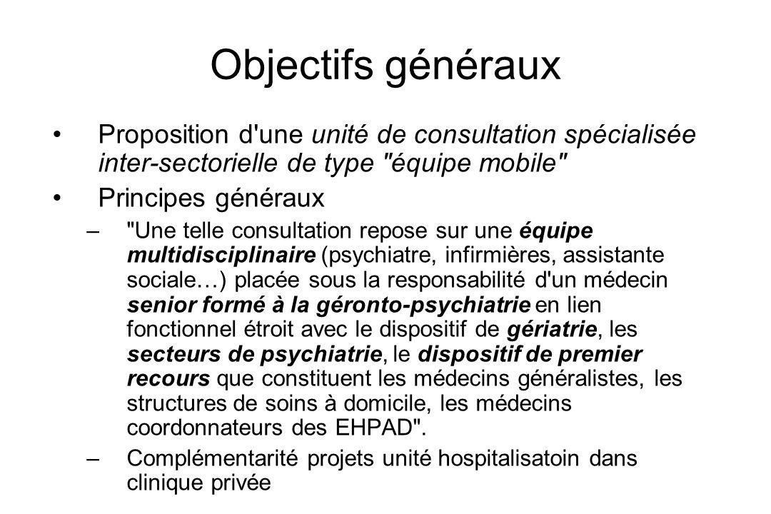 Objectifs généraux Proposition d une unité de consultation spécialisée inter-sectorielle de type équipe mobile
