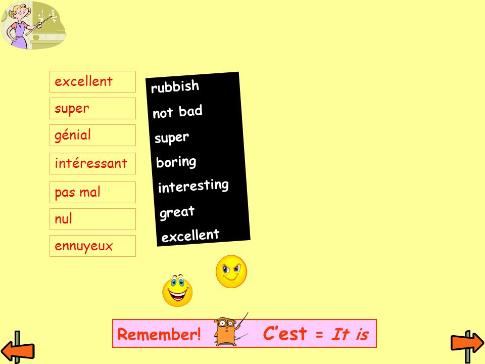 Remember! C'est = It is excellent rubbish not bad super super boring