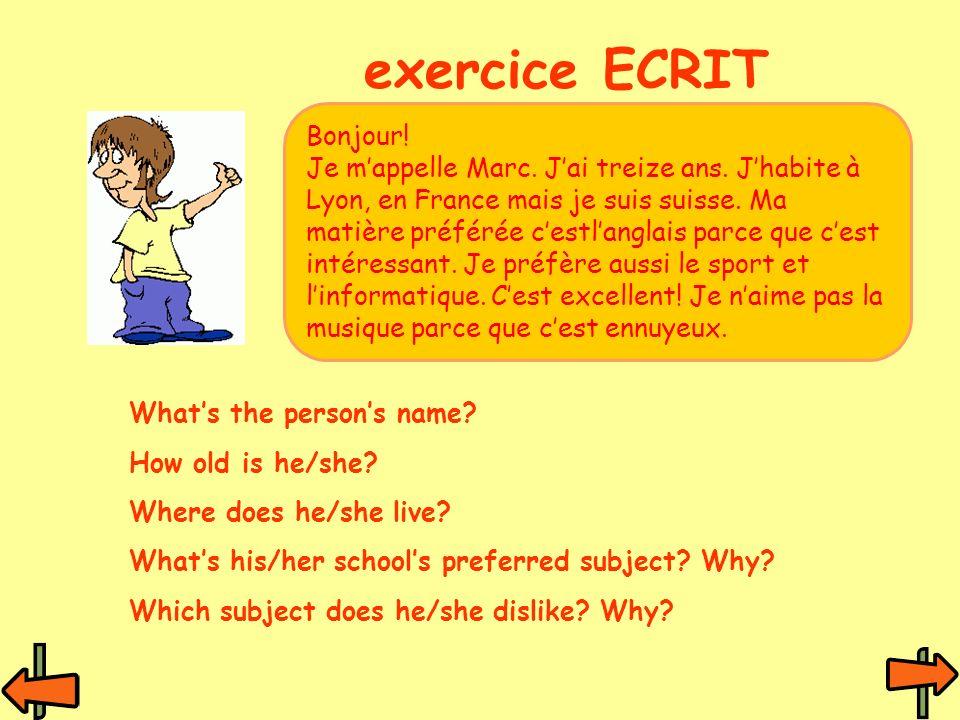 exercice ECRIT Bonjour!