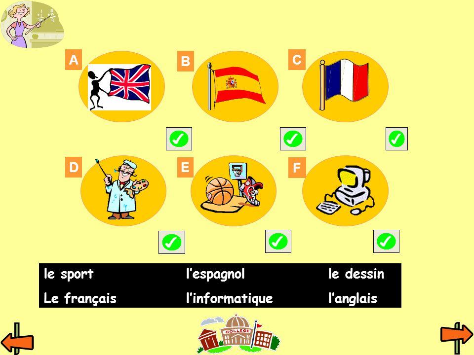 A B C D E F le sport l'espagnol le dessin Le français l'informatique l'anglais