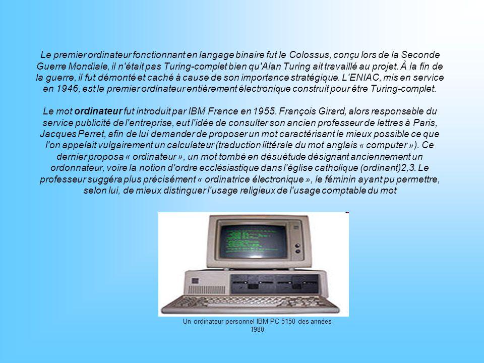 Un ordinateur personnel IBM PC 5150 des années 1980