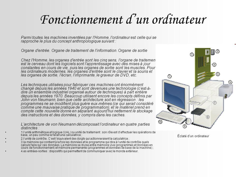 Fonctionnement d'un ordinateur
