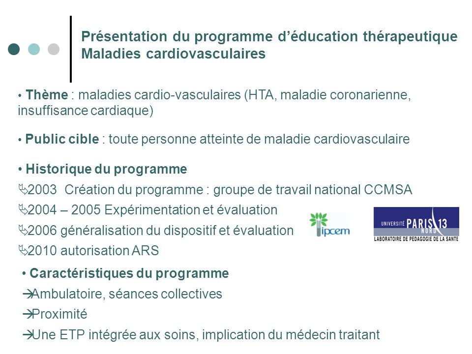 Présentation du programme d'éducation thérapeutique Maladies cardiovasculaires