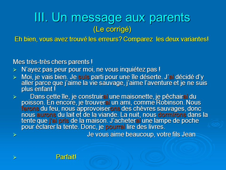 III. Un message aux parents (Le corrigé)