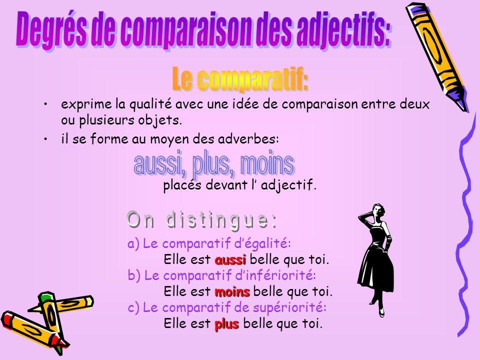Degrés de comparaison des adjectifs: