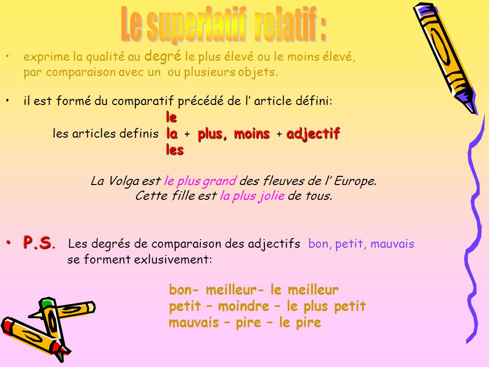 Le superlatif relatif :
