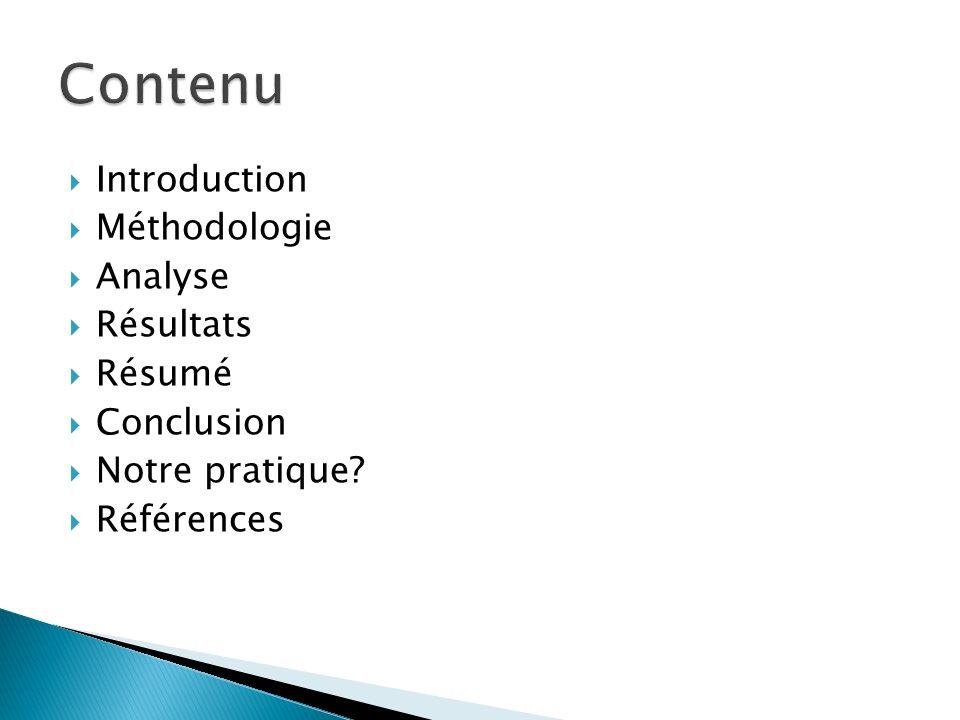 Contenu Introduction Méthodologie Analyse Résultats Résumé Conclusion