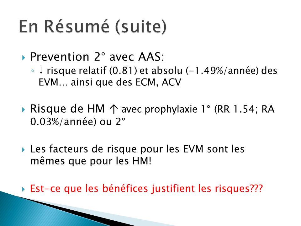 En Résumé (suite) Prevention 2° avec AAS: