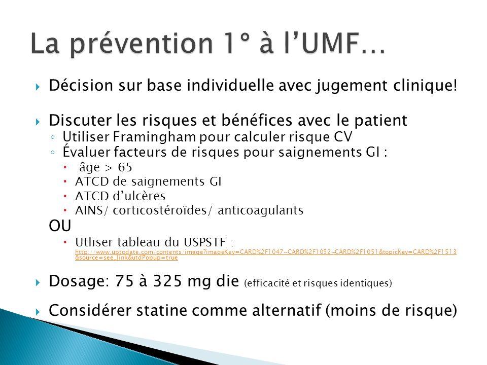 La prévention 1° à l'UMF…