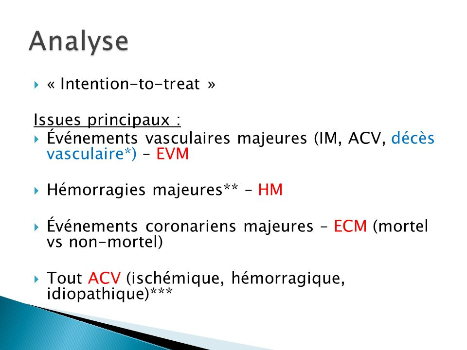 Analyse « Intention-to-treat » Issues principaux :