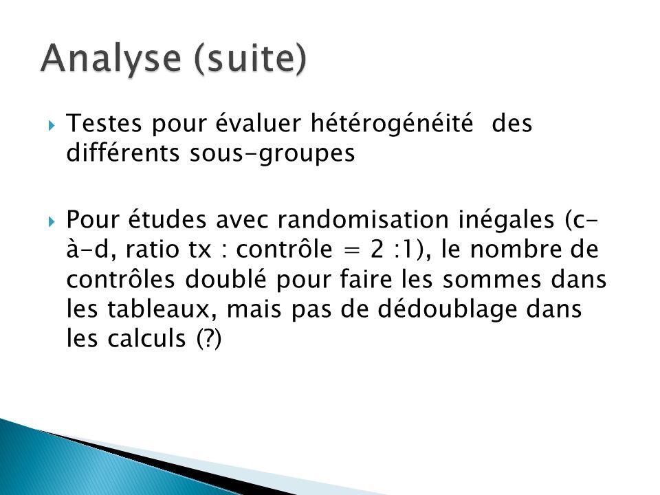 Analyse (suite) Testes pour évaluer hétérogénéité des différents sous-groupes.