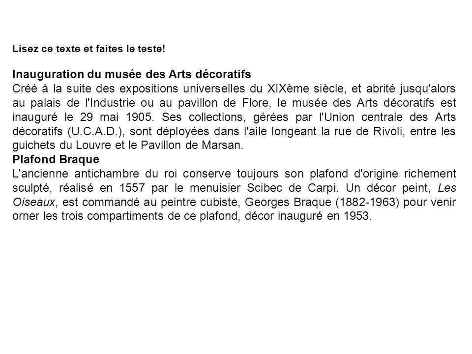 Inauguration du musée des Arts décoratifs