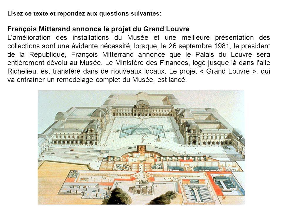 François Mitterand annonce le projet du Grand Louvre