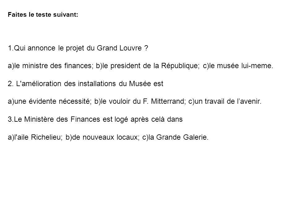 1.Qui annonce le projet du Grand Louvre