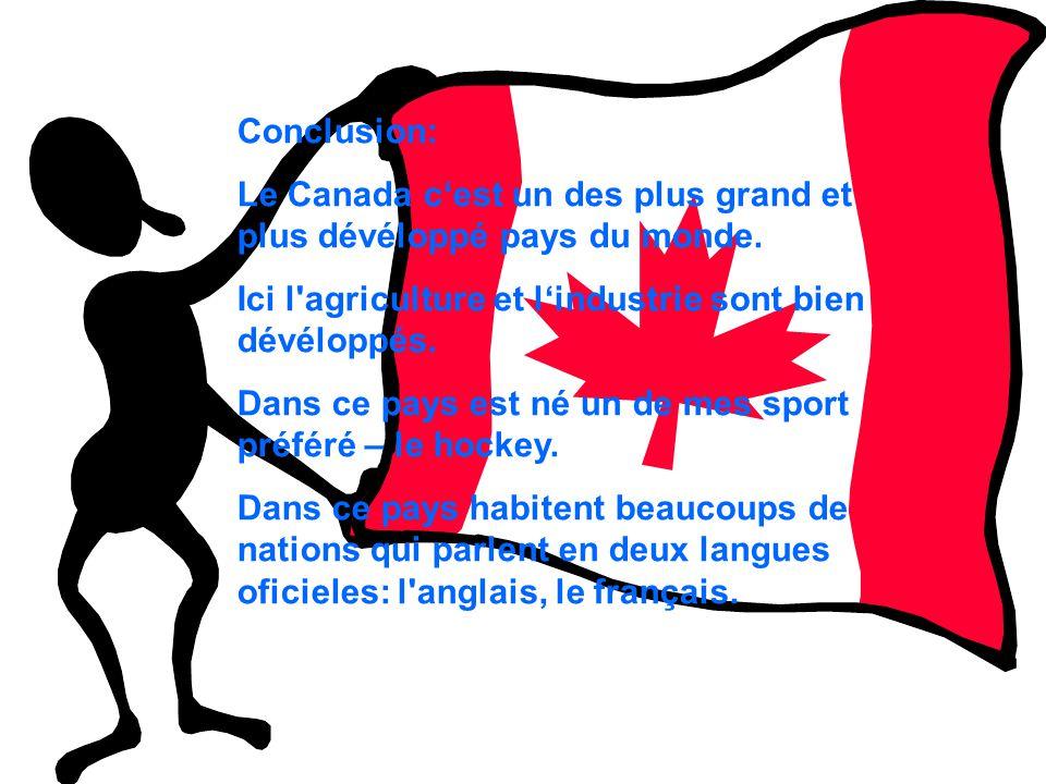 Conclusion: Le Canada c'est un des plus grand et plus dévéloppé pays du monde. Ici l agriculture et l'industrie sont bien dévéloppés.