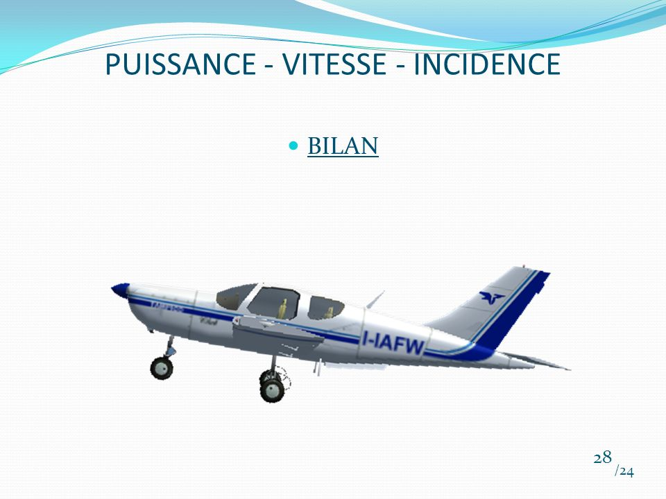 PUISSANCE - VITESSE - INCIDENCE