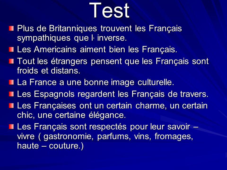 Test Plus de Britanniques trouvent les Français sympathiques que l, inverse. Les Americains aiment bien les Français.