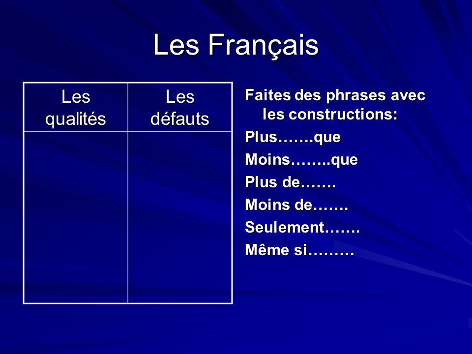 Les Français Les qualités Les défauts