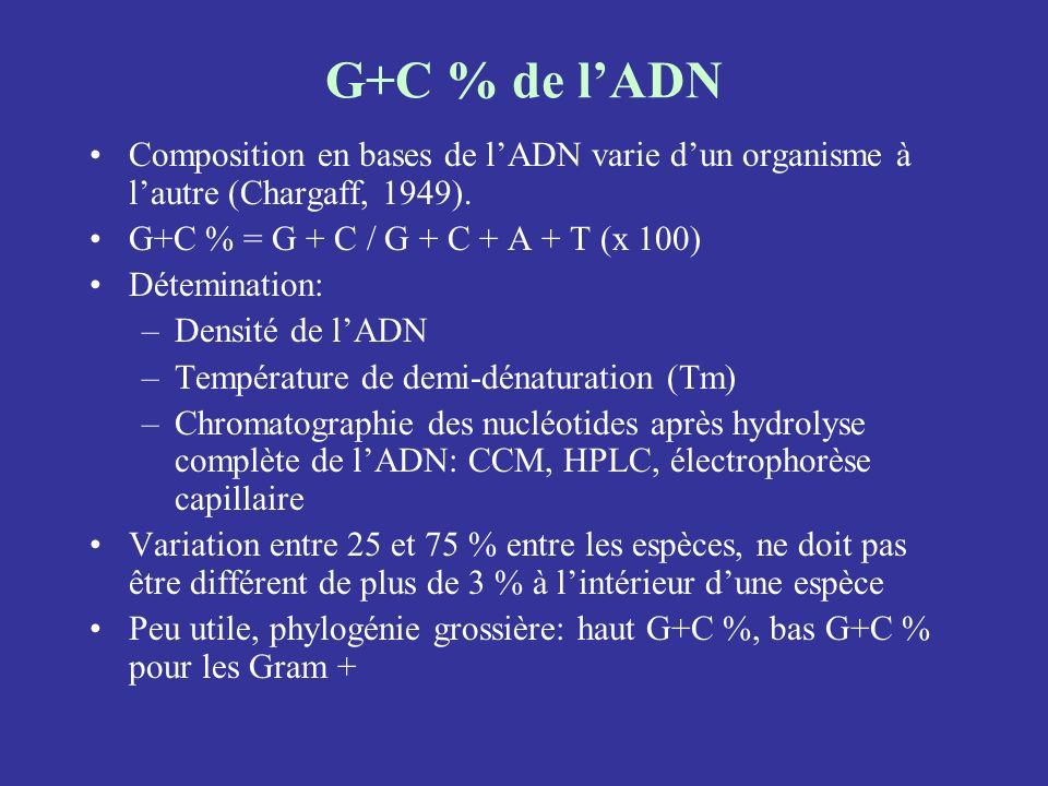 G+C % de l'ADNComposition en bases de l'ADN varie d'un organisme à l'autre (Chargaff, 1949). G+C % = G + C / G + C + A + T (x 100)
