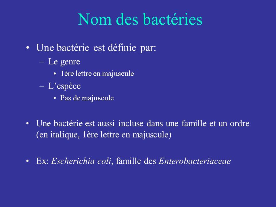 Nom des bactéries Une bactérie est définie par: Le genre L'espèce