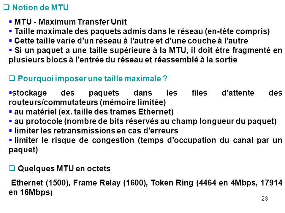 Notion de MTU MTU - Maximum Transfer Unit. Taille maximale des paquets admis dans le réseau (en-tête compris)