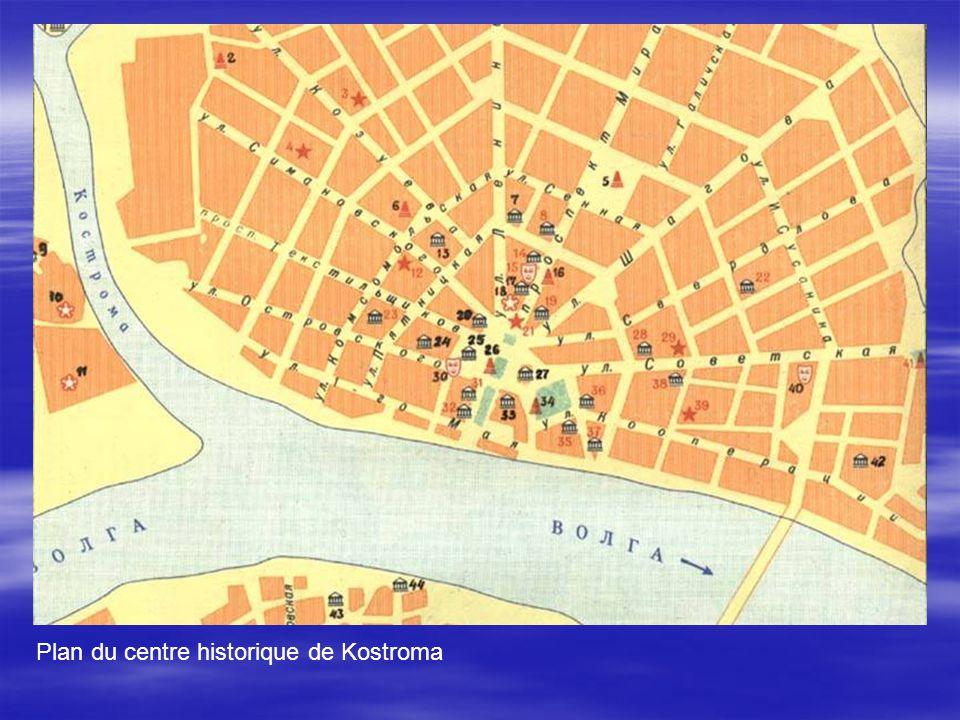Plan du centre historique de Kostroma