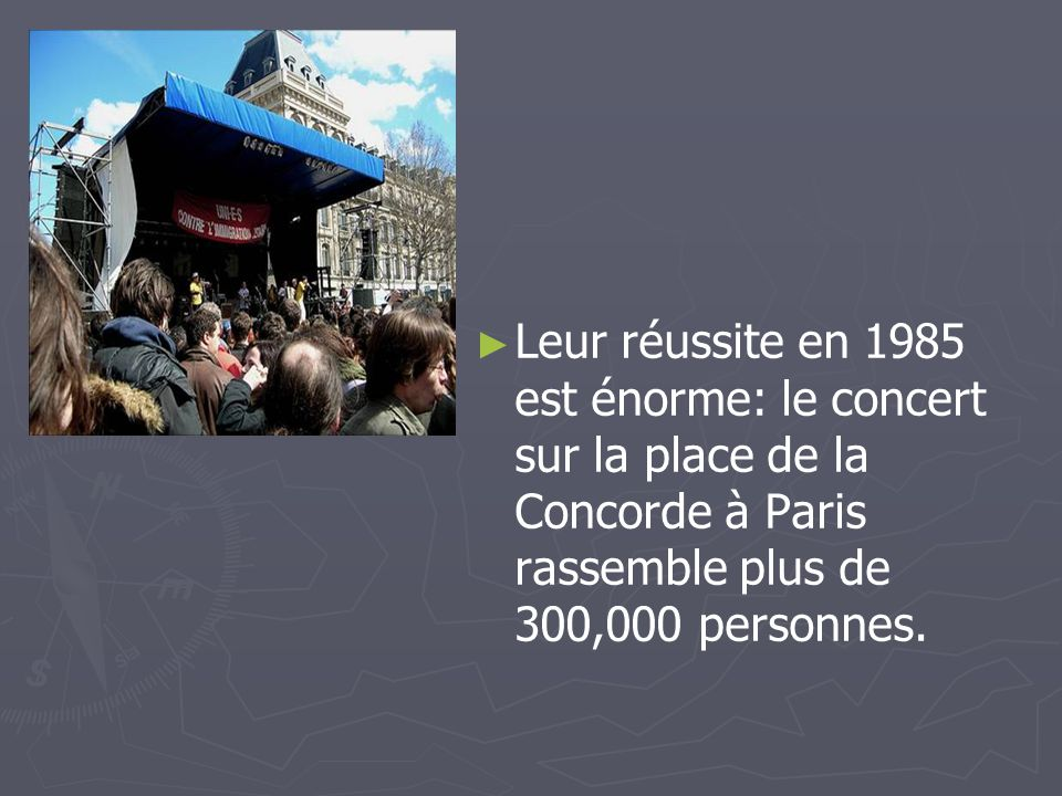 Leur réussite en 1985 est énorme: le concert sur la place de la Concorde à Paris rassemble plus de 300,000 personnes.